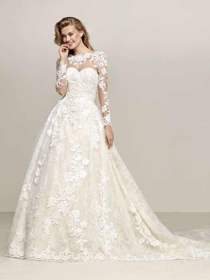 15 hermosos vestidos de novia 2018 con manga larga | Wedding