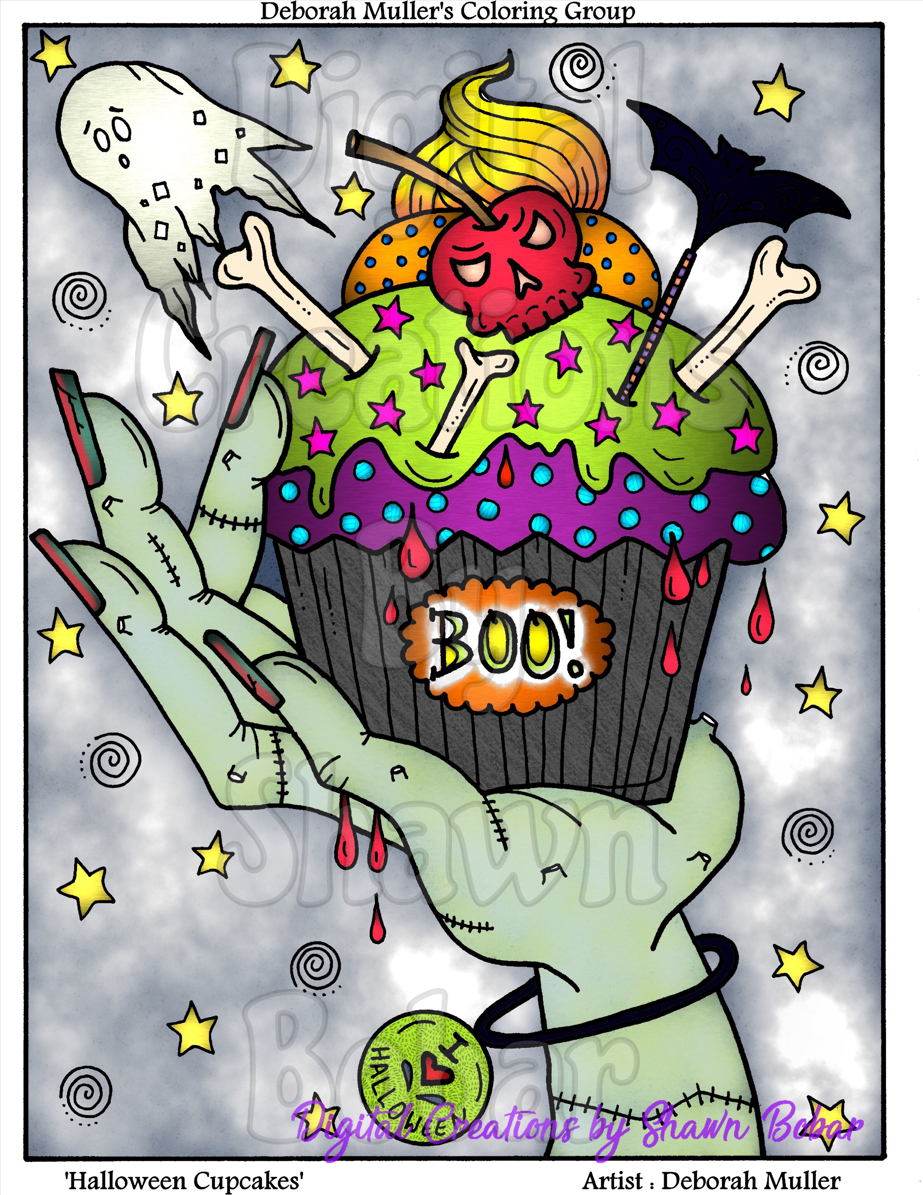 Halloween Cupcakes By Deborah Muller Available On Her Etsy Digitally Colored Using Pigment IPad Pro Apple Pen