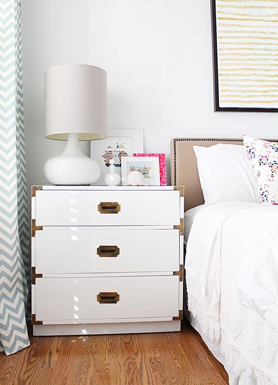Campaign chest bedside table. $299