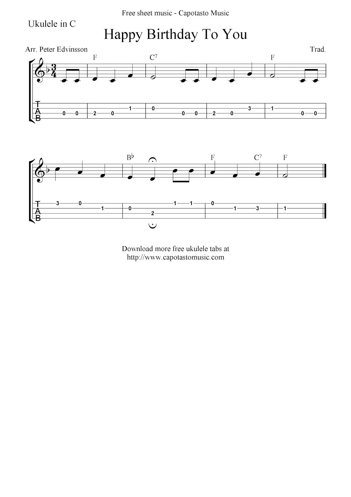 Happy Birthday To You Free Ukulele Tab Sheet Music Ukulele In