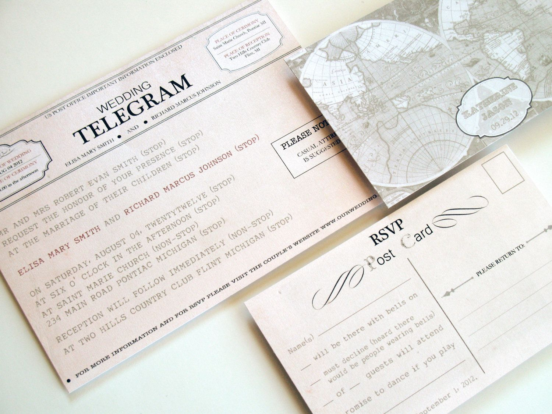 sample spanish wedding invitations%0A Printable Wedding Invitations  New York Suite  Telegram Invitation and  rsvp postcard