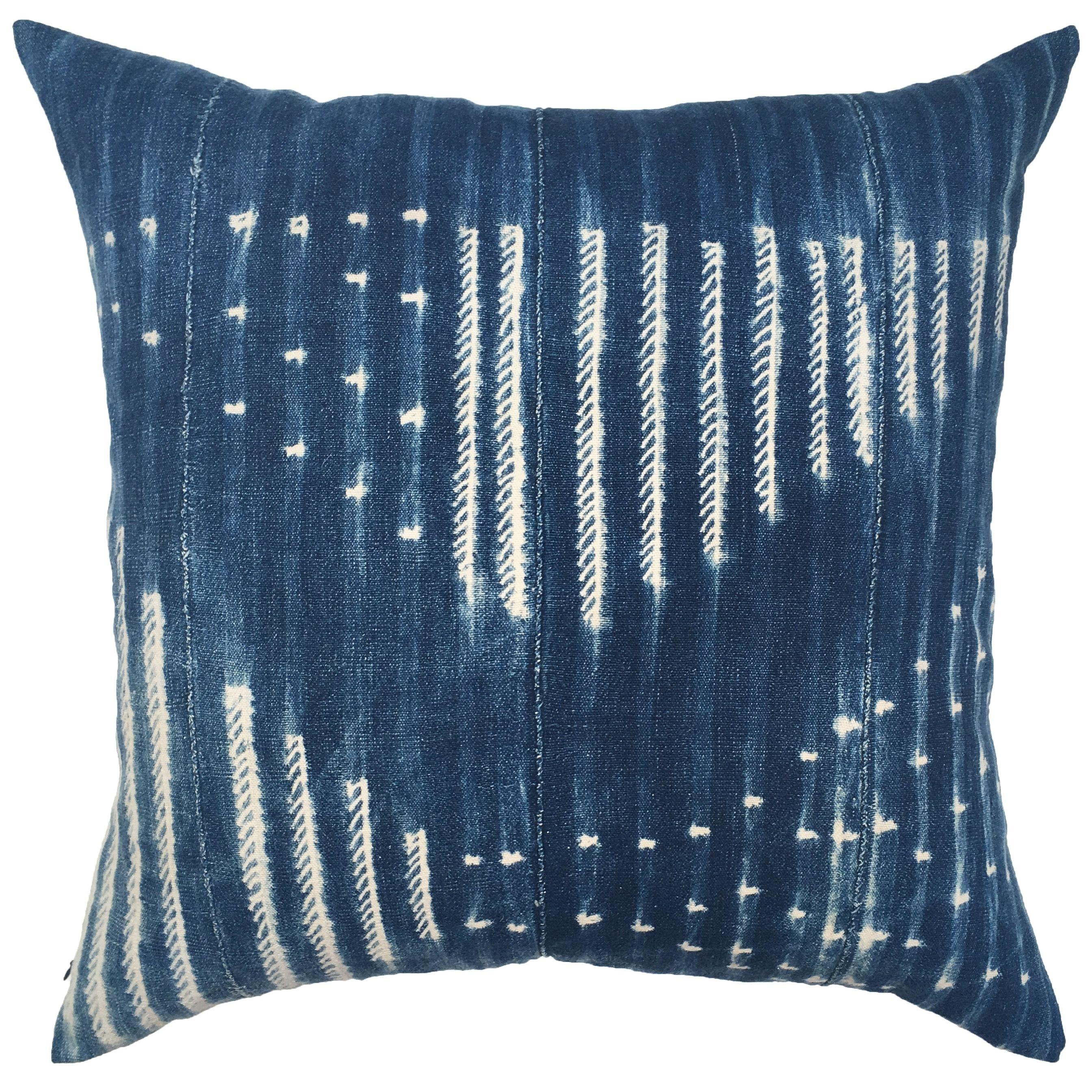Lulu Georgia Yadira One Of A Kind Indigo Mudcloth Pillow