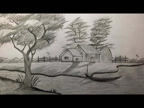 How to draw village scenery with shadow scene by pencil sketch