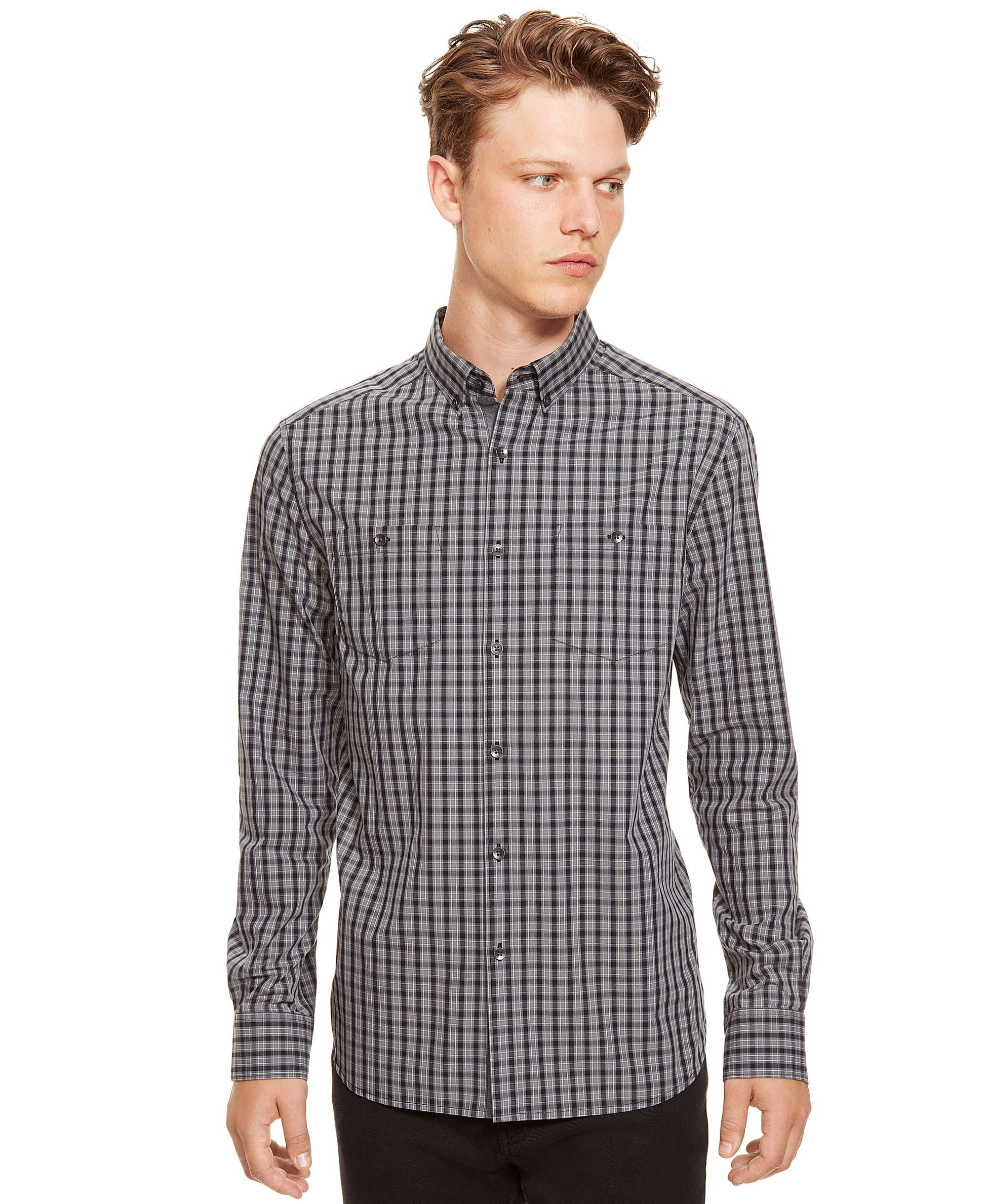 Kenneth Cole REACTION Long-Sleeve Micro-Check Shirt