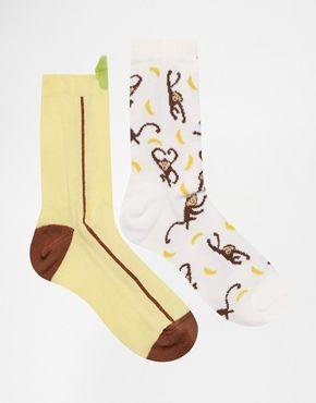 ASOS - Confezione da 2 paia di calze con banane e scimmie