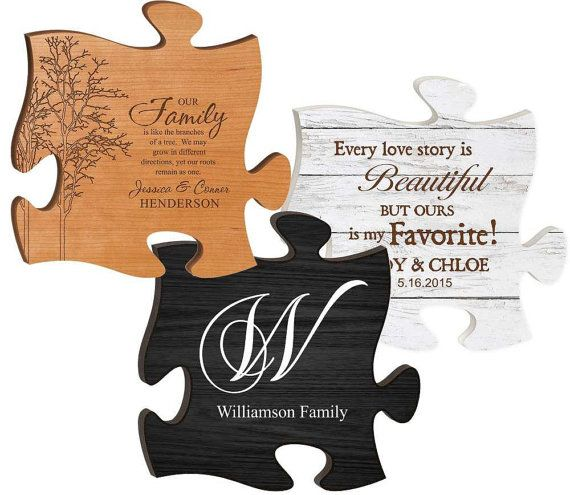 Personalized Puzzle Piece Personalized Sign Engraved Etsy Personalized Puzzles Wood Signs Wedding Gift Puzzle Pieces