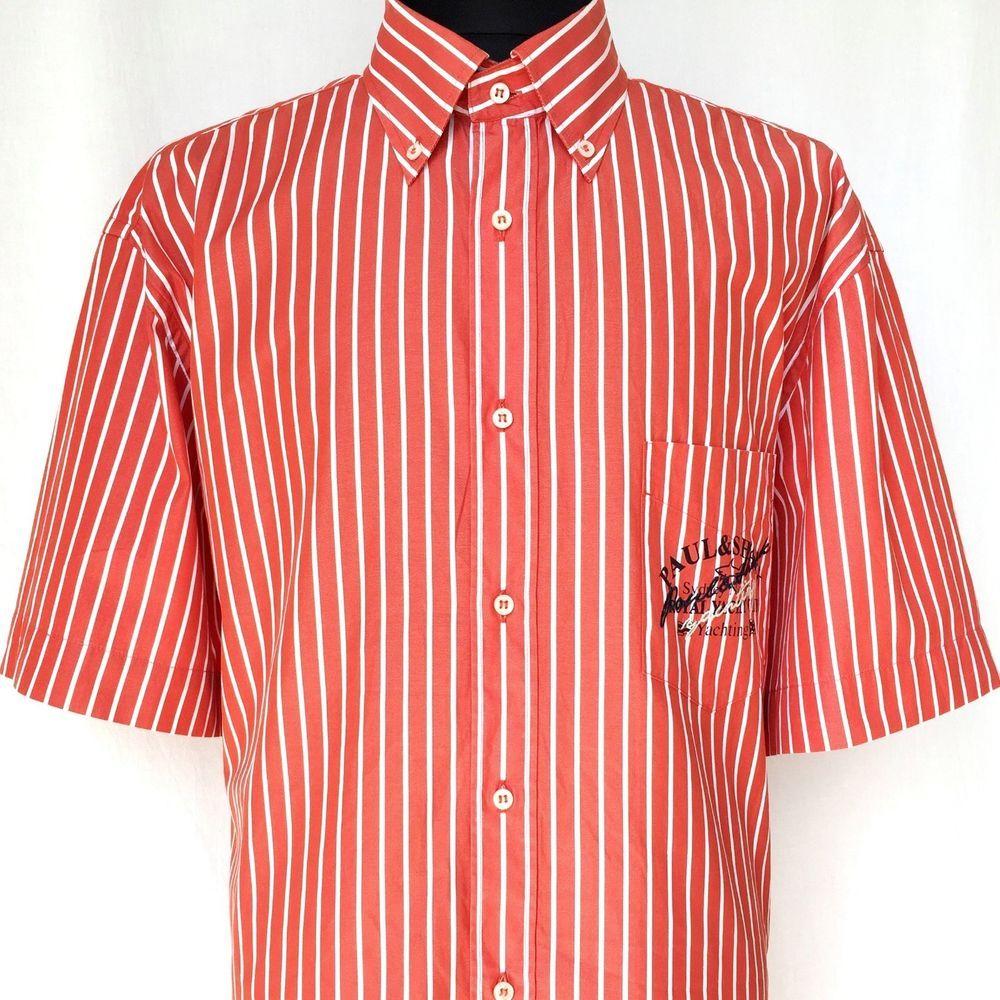 PAUL   SHARK Yachting Le Havre Men Short Sleeve Shirt Red Stripe 44 17.5 XL  2XL 977442025602