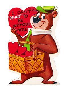 Yogi Bear and Cindy Sweethearts Vintage Valentine Hanna Barbera