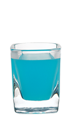 The Blue Shot is a ... blue shot! Made from Hpnotiq liqueur and vodka, and served in a chilled shot glass.