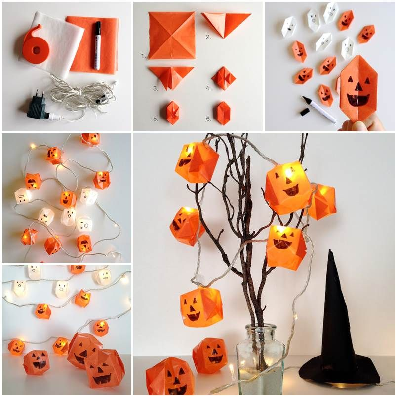 creative ideas diy origami halloween lanterns - How To Make Halloween Lanterns