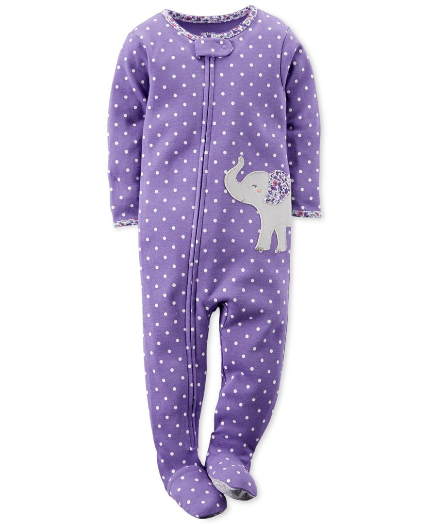 Carter s Toddler Girls  One-Piece Elephant Footed Pajamas  ad3084722