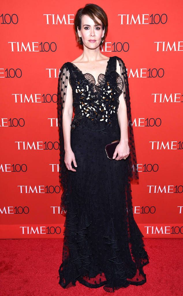 Sarah Paulson From Time 100 Gala 2017 Red Carpet Arrivals Celebrity Black Dress Celebrity Gowns Celebrity Red Carpet