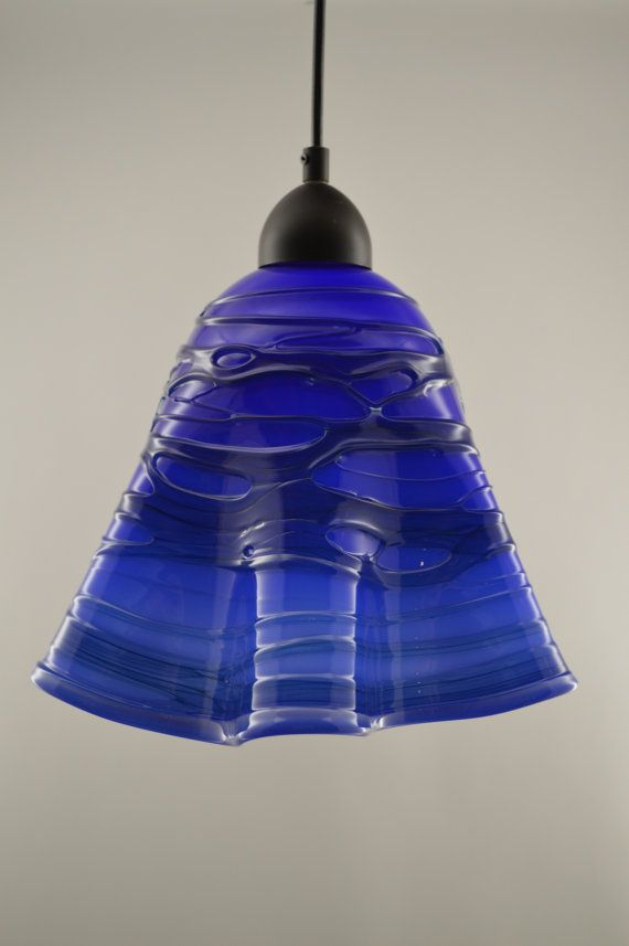 Beautiful Hand Blown Glass Pendant Light This Has A White Interior And Deep