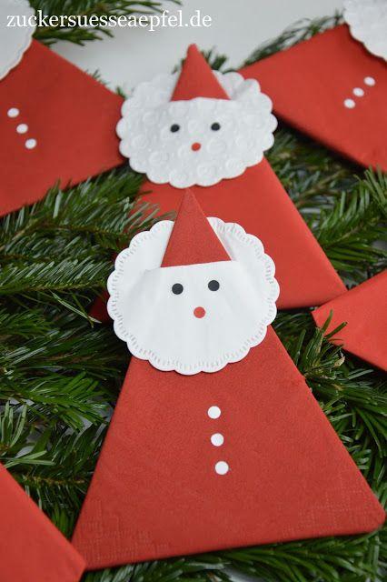 Eine Anleitung für süße Servietten-Weihnachtsmänner als Tischdekoration #manualidadesnavideñas