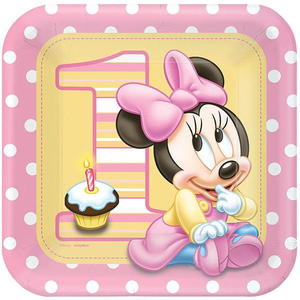 Just whatu0027s needed to set the table at your Minnie Mouse 1st Birthday Party! +  sc 1 st  Pinterest & Disney Baby Minnie Mouse DINNER PLATES 1st Birthday Party Supplies ...
