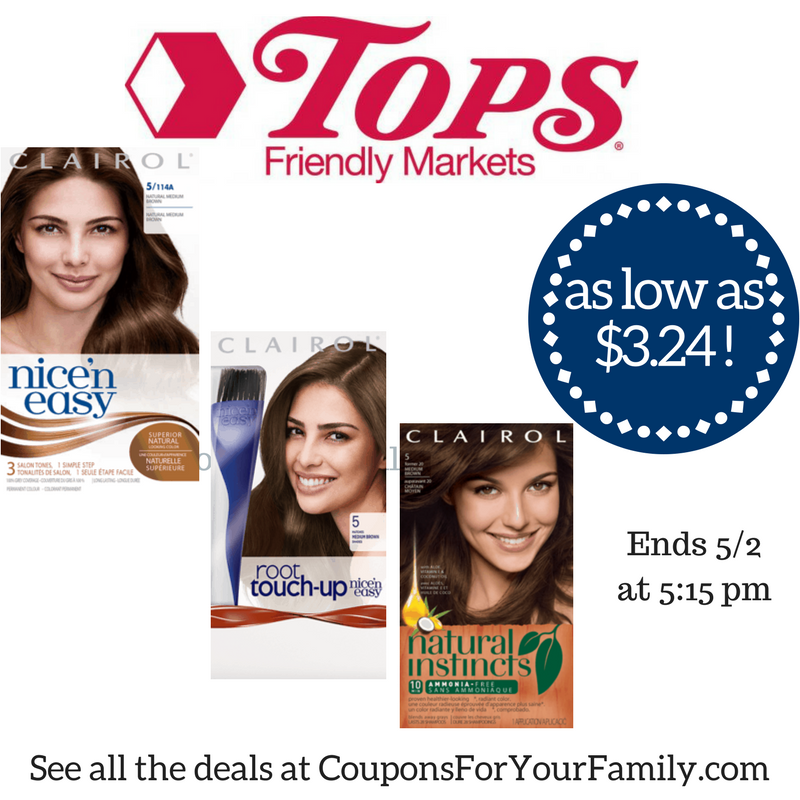 Tops Deal Clairol Hair Color Only 3 24 Each Hurry Combo Deal Ends Tuesday 5 2 Clairol Hair Color Clairol Hair Color