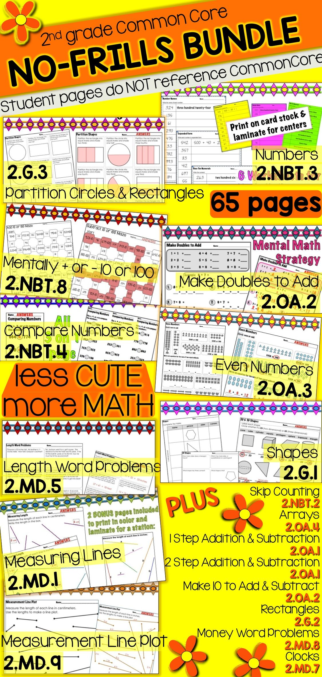 2nd Grade No Frills Common Core Math Practice Bundle With