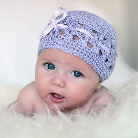 Gorro bebé de ganchillo con lazo Gorro en color malva lila 78357be3cb7