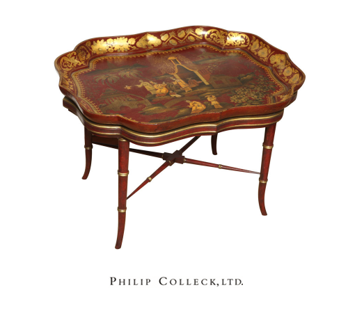 Very Fine red papier mache chinoiserie tray on stand, c.1840