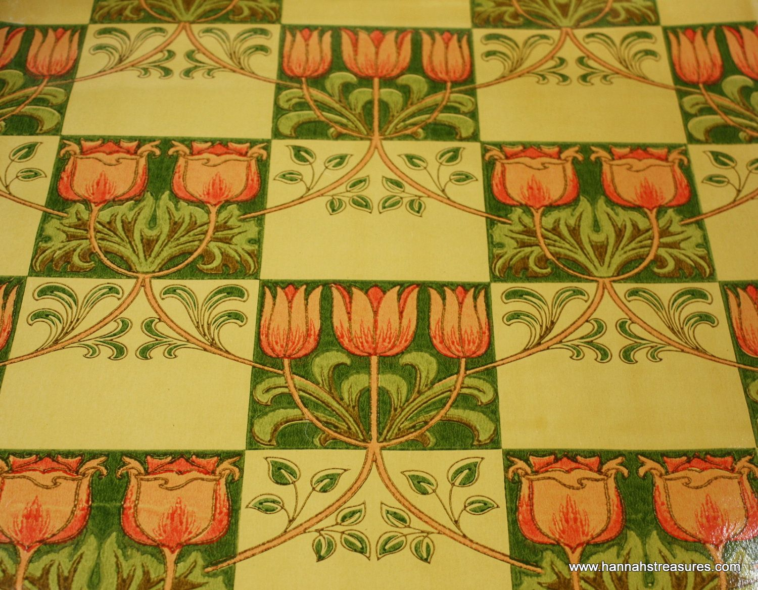 1900\'s Vintage Wallpaper Arts & Crafts Tulip Tile Rare and Stunning ...