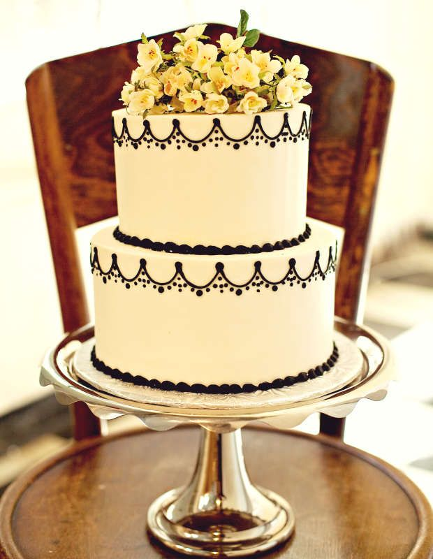 Simple Two Tier Black and White Wedding Cake by The BonBonerie ...