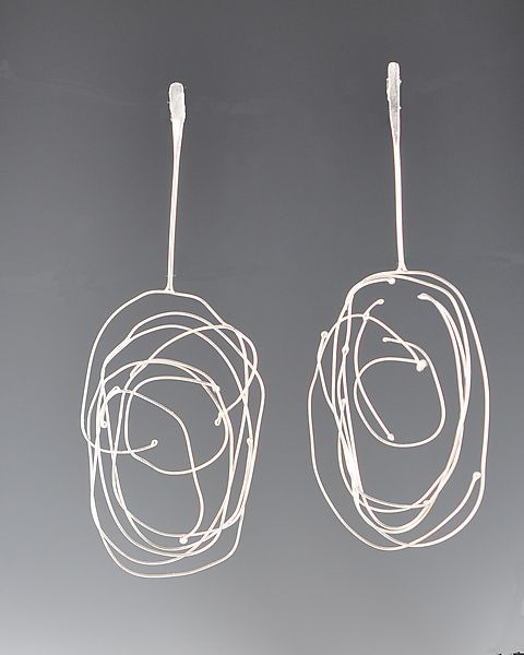 Long Birdsnest Earrings: LORI GOTTLIEB-USA : Silver Earrings - Artful Home: