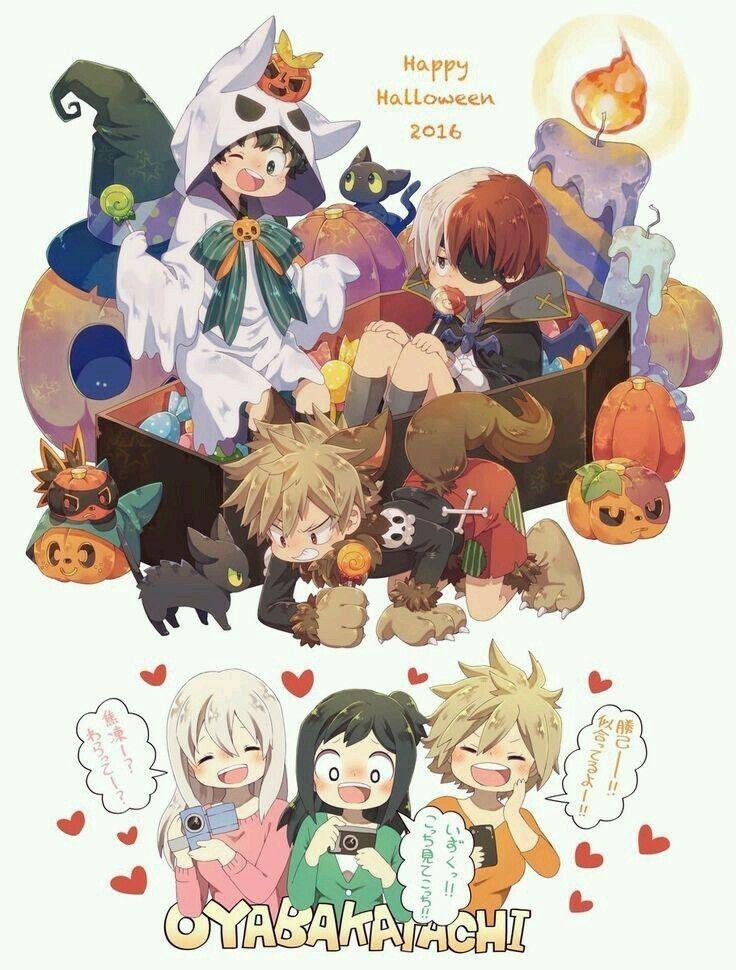 Izuku Inko Midoriya Shoto Rei Todoroki Katsuki Mitsuki Bakugo Halloween Ver My Hero Boku No Hero Academia Anime