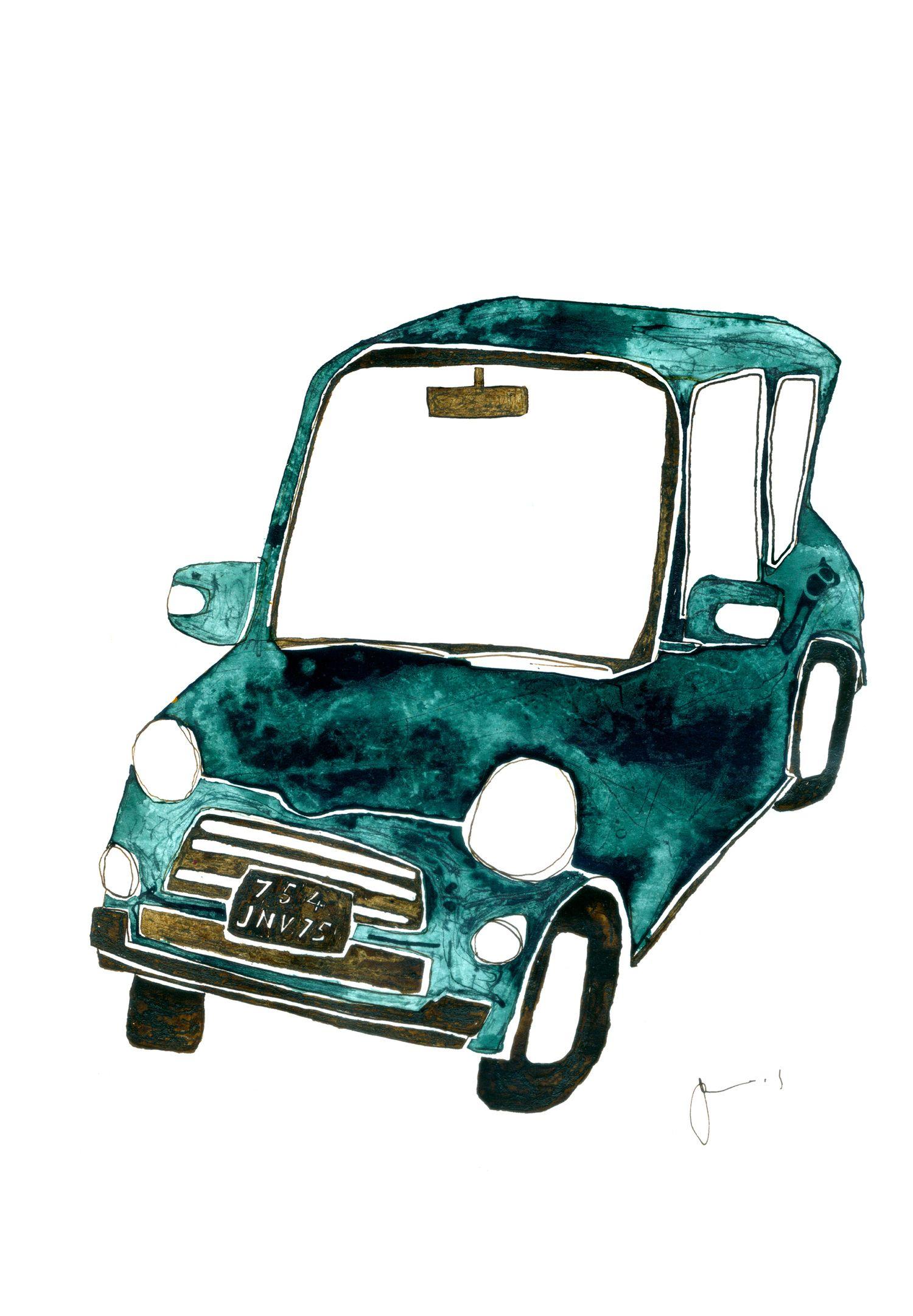 車 イラスト 車 アート ドローイング インク ペン シンプル