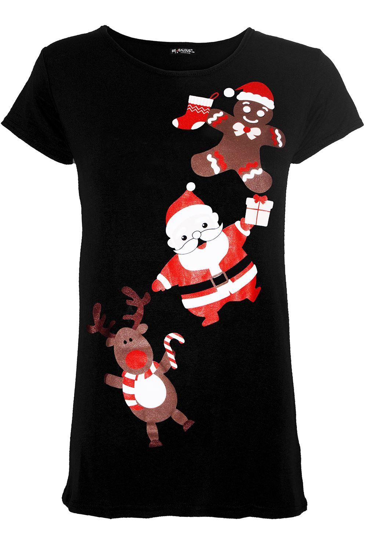 Womens Ladies Christmas Reindeer Pudding Snowflake Round Sleeve Xmas T Shirt Top