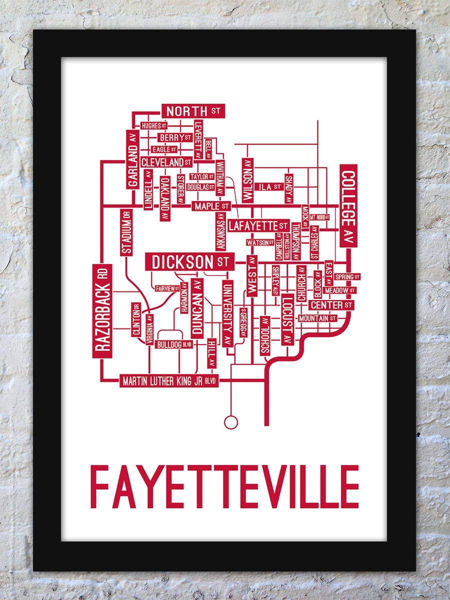 Fayetteville, Arkansas Street Map Print | Man Cave ...