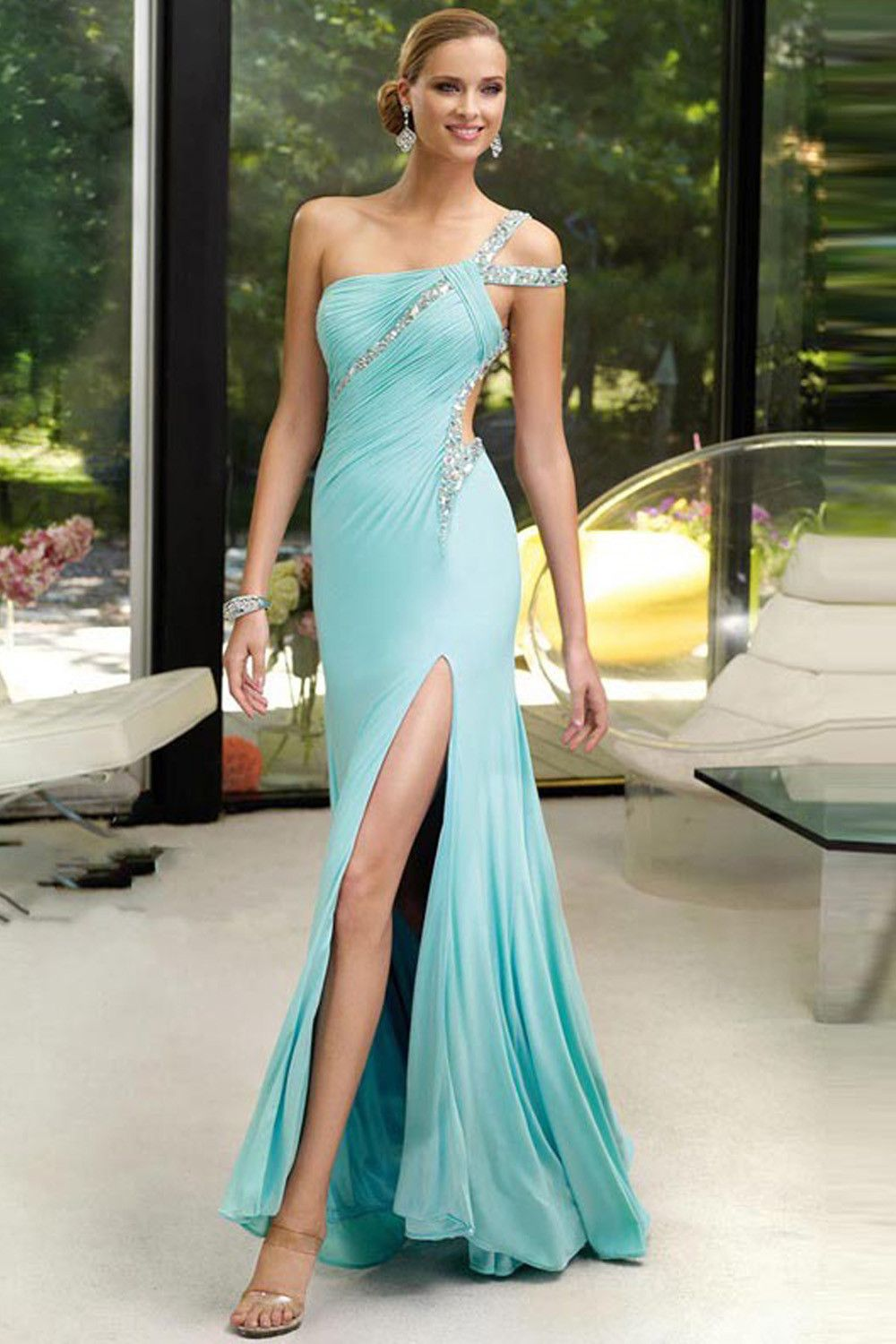 Hot Sale Sexy Backless One Shoulder Split Chiffon Crystal Prom Party ...