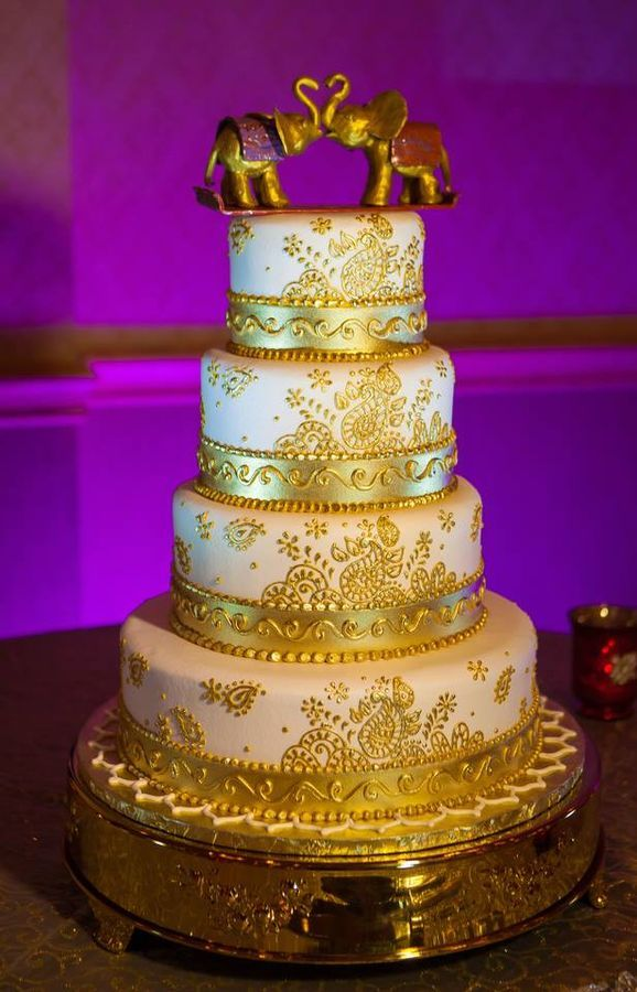 White And Gold Wedding Cake Indian Henna Hand Painted