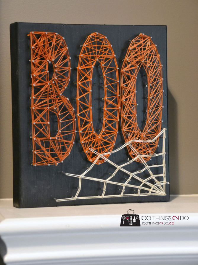creating string art 100things2do halloween d co halloween bricolages halloween. Black Bedroom Furniture Sets. Home Design Ideas
