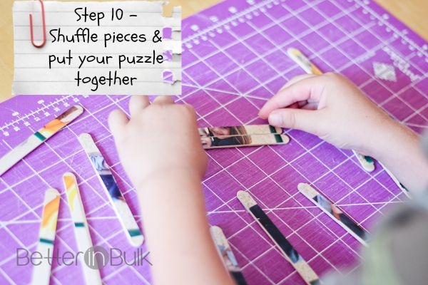 DIY Craft Stick Puzzles- cute idea to combine computers (or whichever club takes pictures) and art... need to find an alternative way to cut
