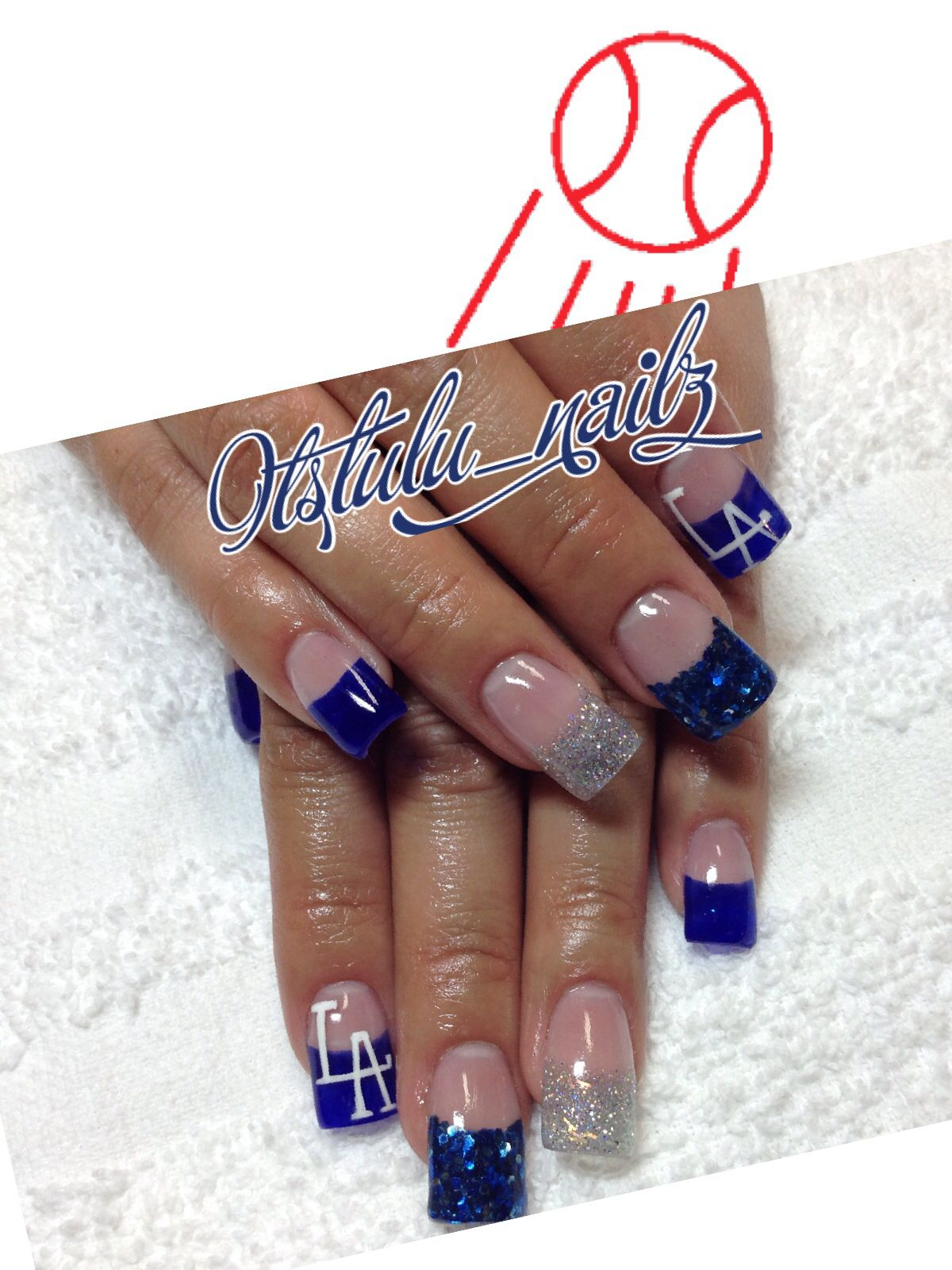 Dodger fan? | <3 Acrylic Nails <3 | Pinterest | Dodgers, Glitter ...