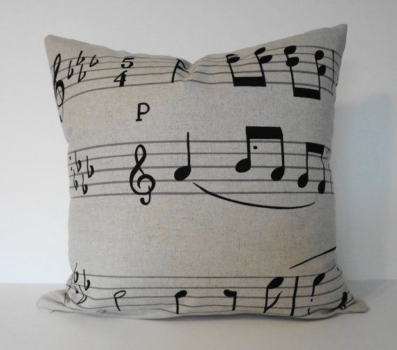 Black and Grey Music Notes Throw Pillow |