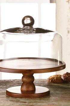 Brown Madera Pedestal Cake Plate