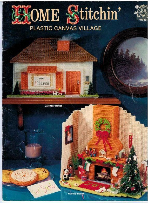 Christmas Plastic Canvas Village House Fireplace Church By Colojd Plastic Canvas Christmas Plastic Canvas Patterns Plastic Canvas