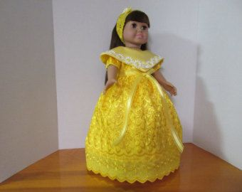 American Doll Dress Red With Little White Polka von MJSEWINGNCRAFTS