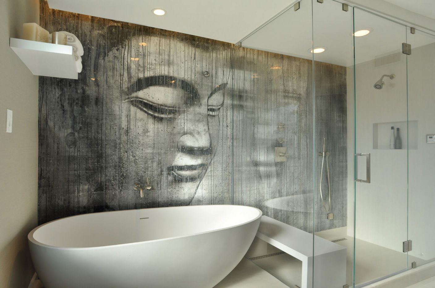 Badezimmer trends ~ Zen bathroom with custom buddha wall. the wall features a series