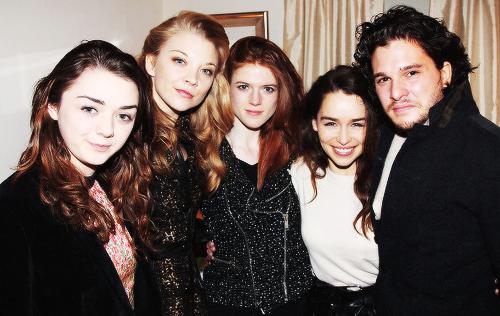 Rose Leslie, Maisie Williams, Kit Harington and Natalie Dormer visit Emilia Clarke.