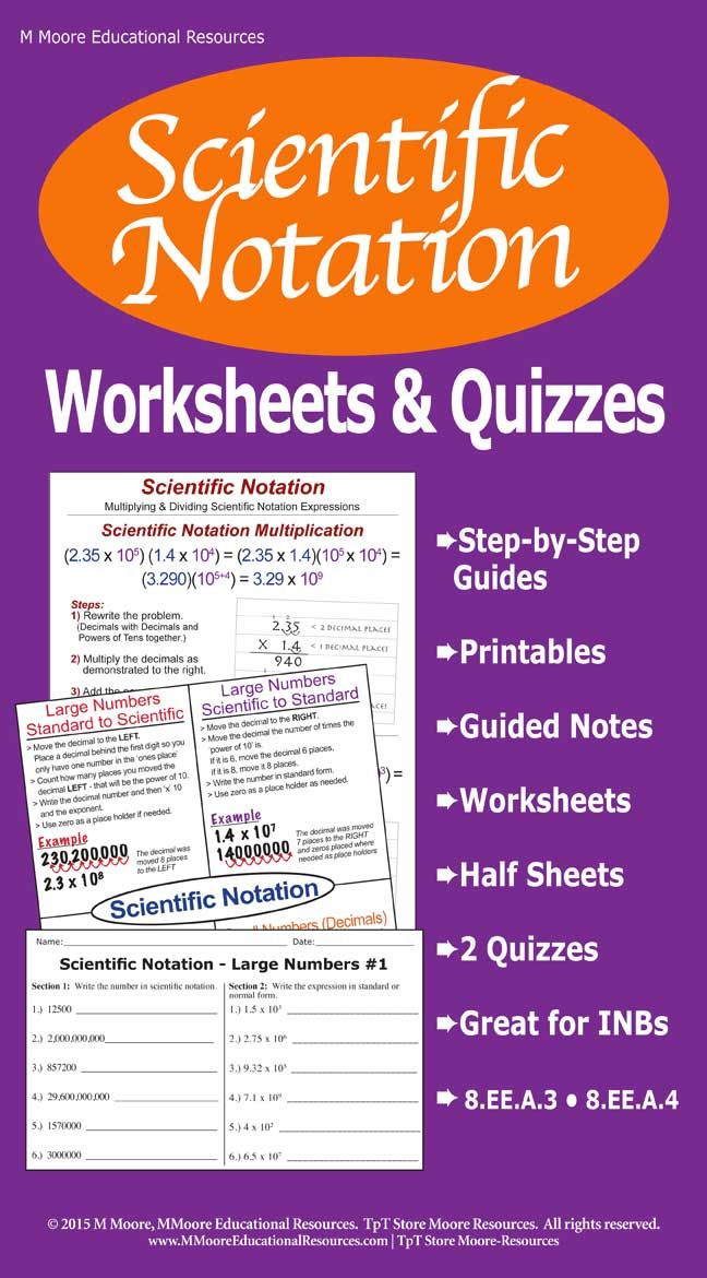Scientific Notation Worksheets, Guided Notes, Printables