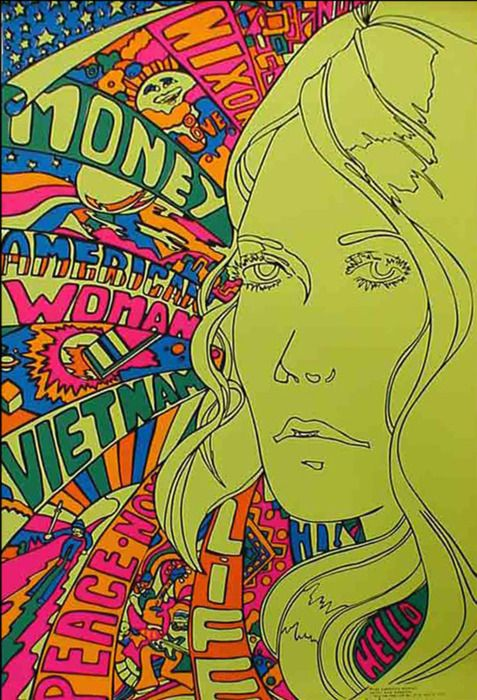 1960s Psychedelic Art Retro Illustration 60s Hippie