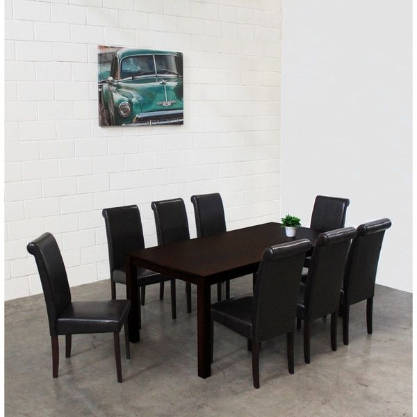 Warehouse Of Tiffany Jewel Black Leatherette 9 Piece Dining Set