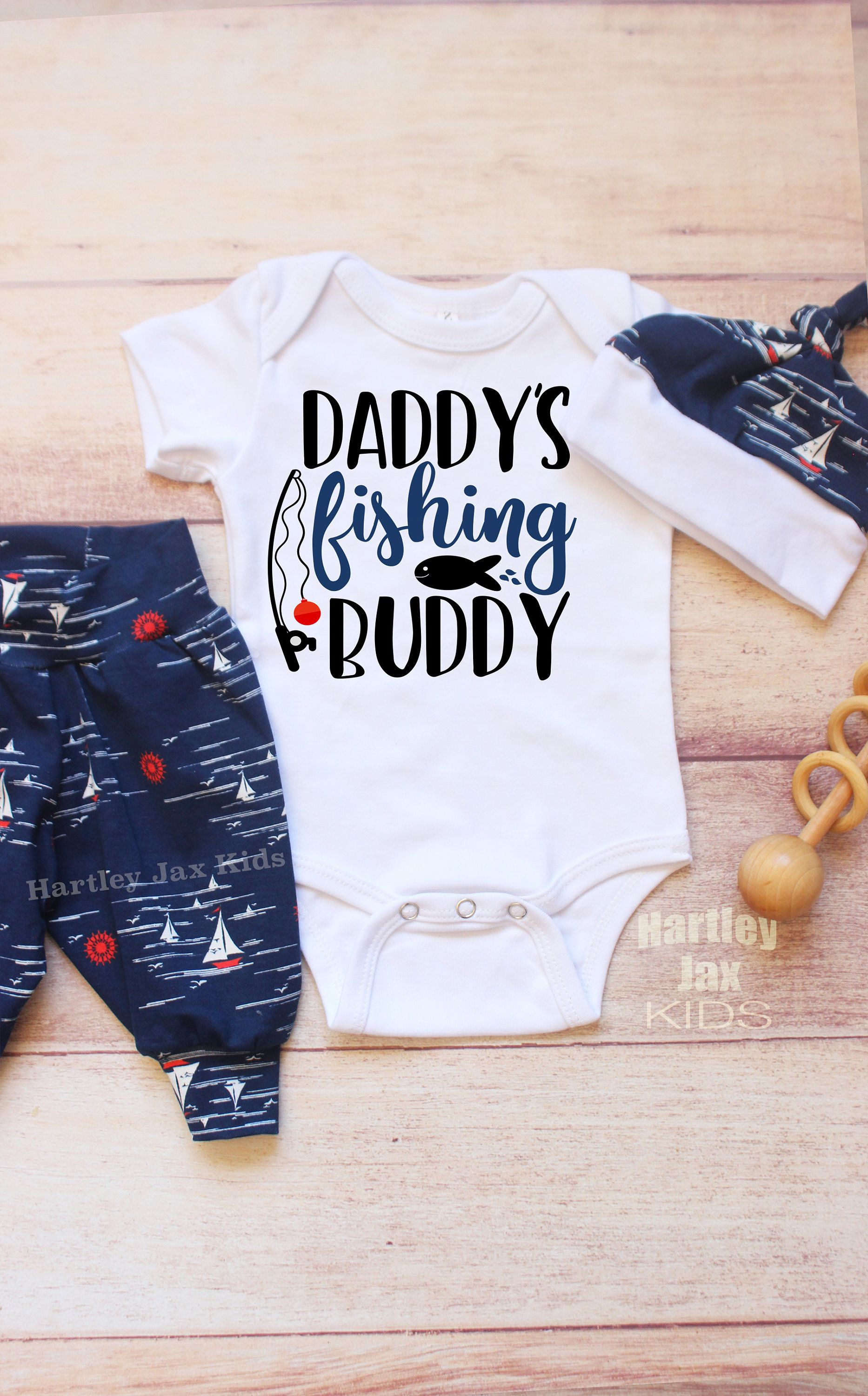 Daddys fishing home outfit baby boy baby