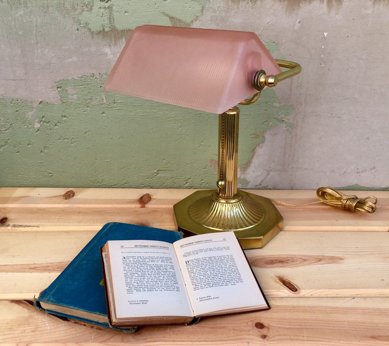 Your Place To Buy And Sell All Things Handmade Pink Desk Lamps Bankers Desk Lamp Retro Office Table