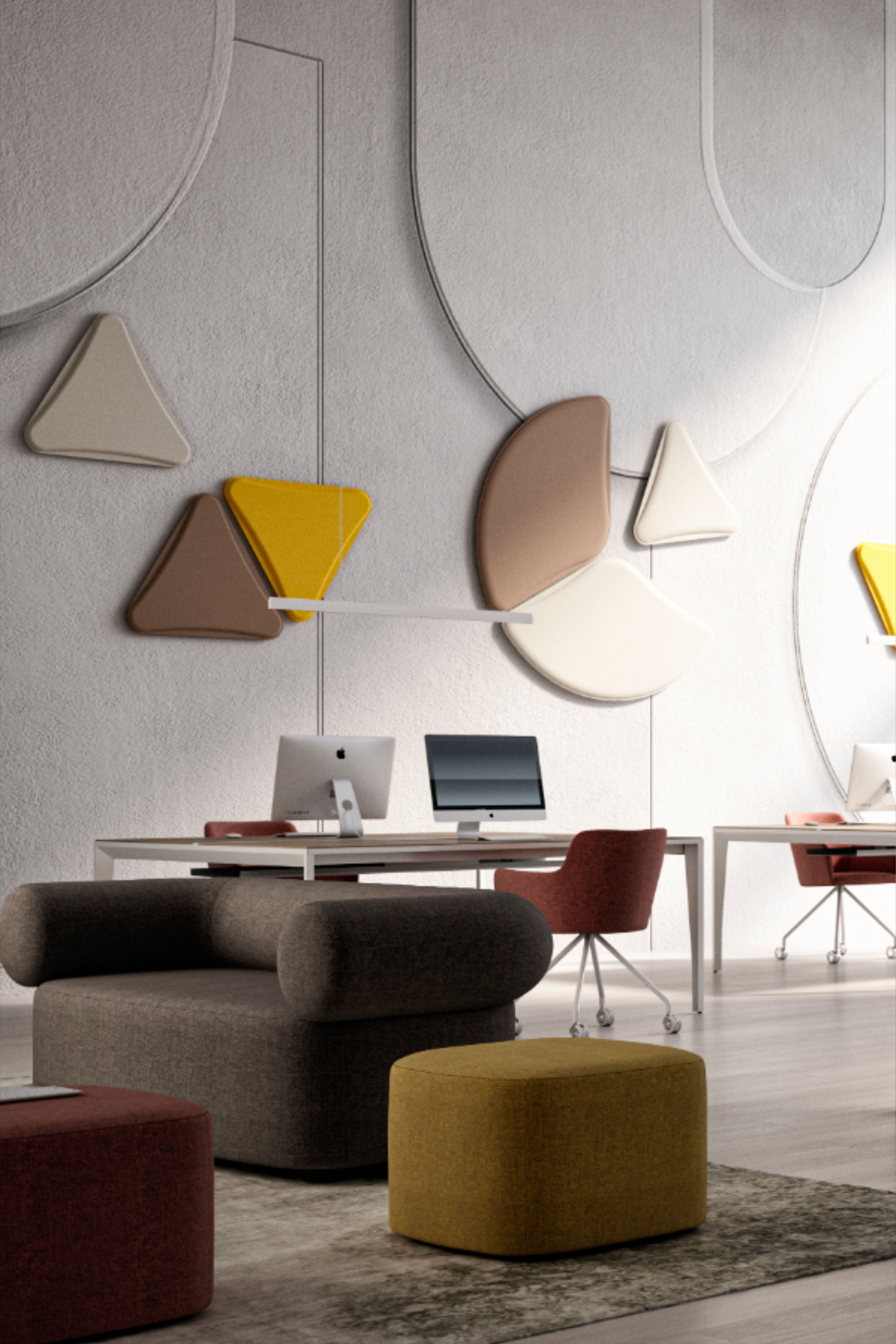 LightSound is a system that has been created to meet the acoustic and visual comfort needs. Here our Petals and Cloak soundproofing panels. #lightsound #quadrifogliogroup #acoustic #office #design #workplace #furniture #madeinitaly #comfort #acoustic #officeinspiration #acousticpanels #furniture #style #coworking #architecture #interiordesign #officeliving #soundproof #conceptdesign #openspace #soundproofing #designlovers #officelayout #comfortdesign #wellbeing #contractdesign #workspaces
