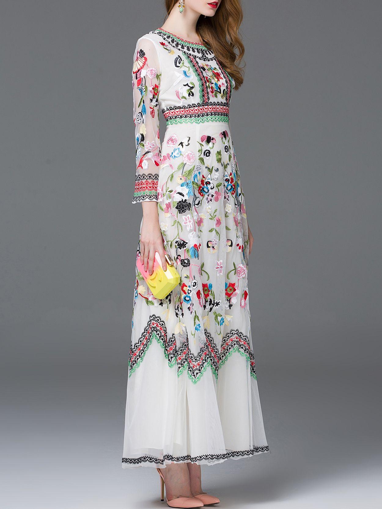 Vestido bordado maxi blanco fashion pinterest boho clothes