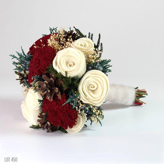 Christmas Wedding Bouquet Winter Bride Felt Rose Bouquet Bridal