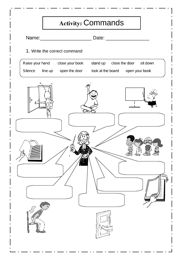 Click To Close Or Click And Drag To Move Classroom Commands Worksheets For Kids English Worksheets For Kids